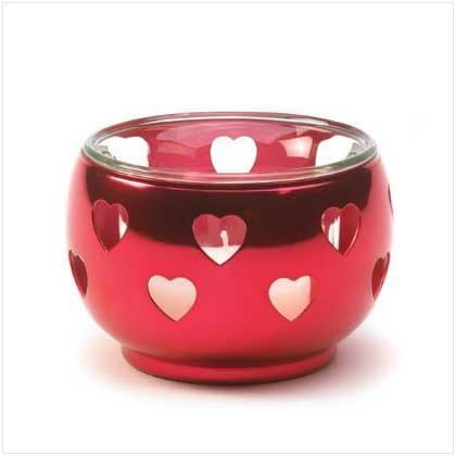 Red Silver Hearts Votive Holder - 36623