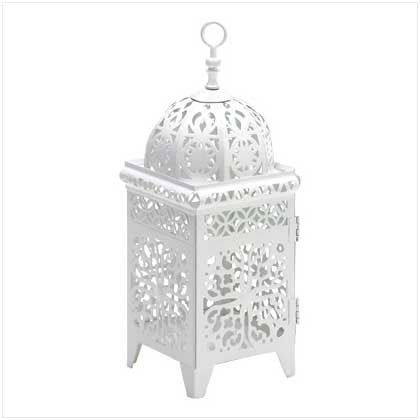 White Scrollwork Candle Lantern - 38332