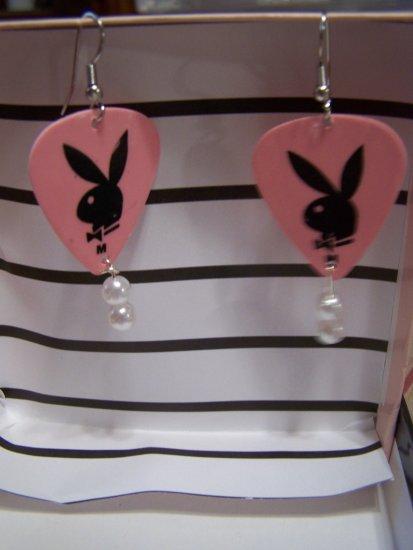 Pink playboy 2 GUITAR PICK EARRINGS!