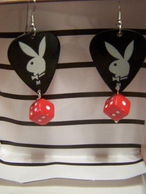 Black playboy earrings GUITAR PICK EARRINGS!