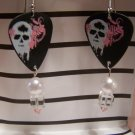 Pink and White skulls 2 GUITAR PICK EARRINGS!