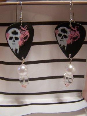 Pink and White skulls 2 GUITAR PICK EARRINGS!
