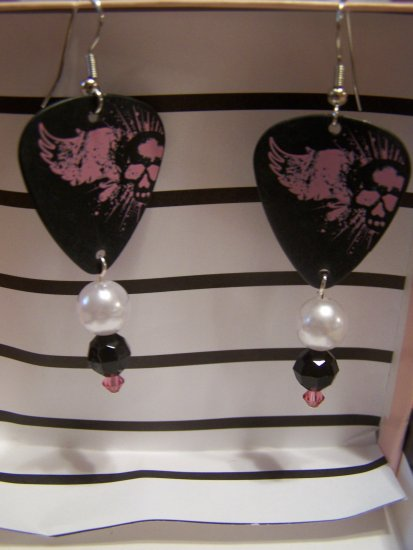 Skull angel wings 1 GUITAR PICK EARRINGS!