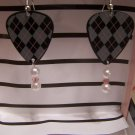 Argyle print 2 GUITAR PICK EARRINGS!