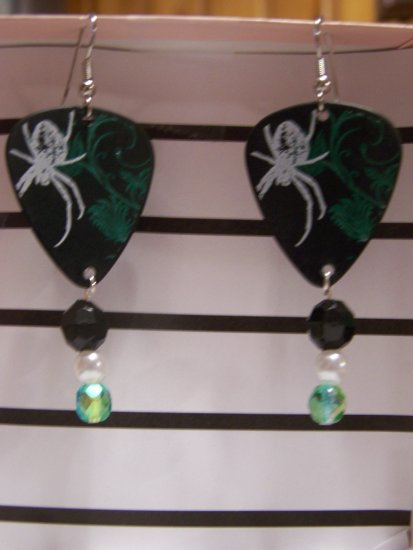 Spider print GUITAR PICK EARRINGS!