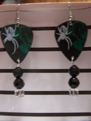 Spider print picks GUITAR PICK EARRINGS!