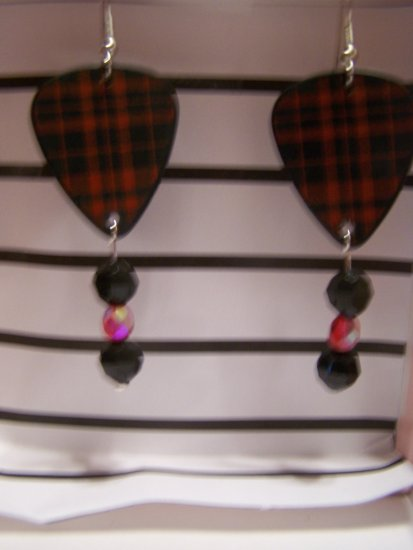 Red plaid 1 GUITAR PICK EARRINGS!