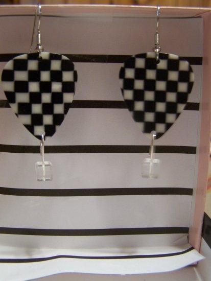 Checkered picks 2 NASCAR GUITAR PICK EARRINGS!