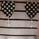 Checkered picks 3 NASCAR GUITAR PICK EARRINGS!