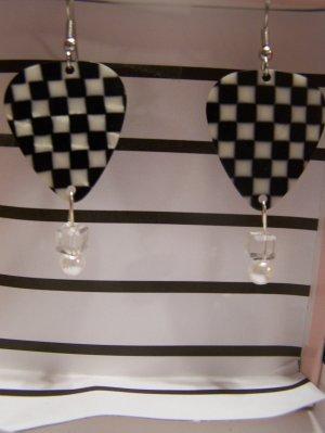 Checkered picks 3 NASCAR GUITAR PICK EARRINGS!