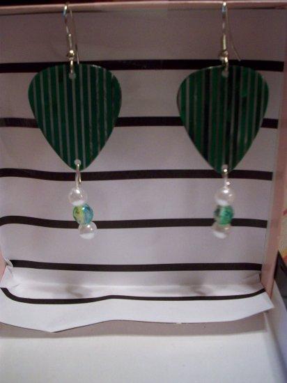 Green Striped picks GUITAR PICK EARRINGS!