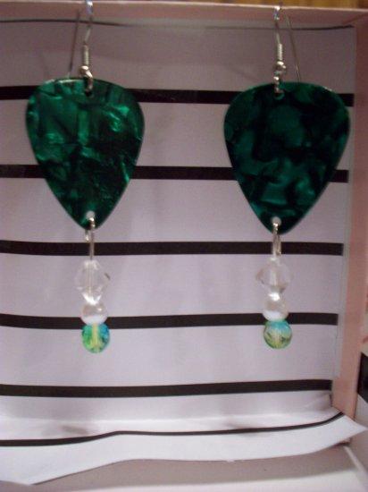 Green pearl picks 1 GUITAR PICK EARRINGS!