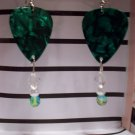 Green pearl picks 1 GUITAR PICK EARRINGS!