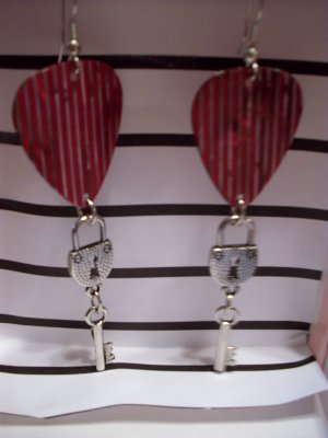 Red striped lock and key picks GUITAR PICK EARRINGS!