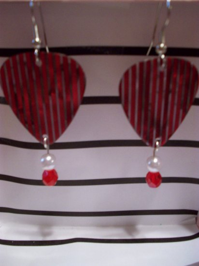 Red pearl picks GUITAR PICK EARRINGS!