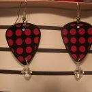 Pink and Black polka dot 2 GUITAR PICK EARRINGS!