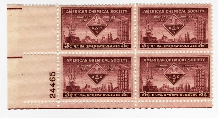 SCOTTS #1002 PLATE BLOCK-AMERICAN CHEMICAL SOCIETY-US STAMPS