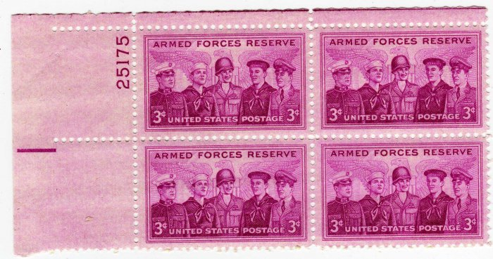 SCOTTS #1067 PLATE BLOCK-ARMRD FORCES RESERVE-US STAMPS