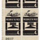 SCOTT #1119-  FREEDOM OF THE PRESS-PLATE BLOCK-U S STAMPS
