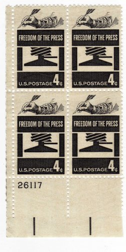 SCOTT #1119-  FREEDOM OF THE PRESS-PLATE BLOCK-U S STAMPS