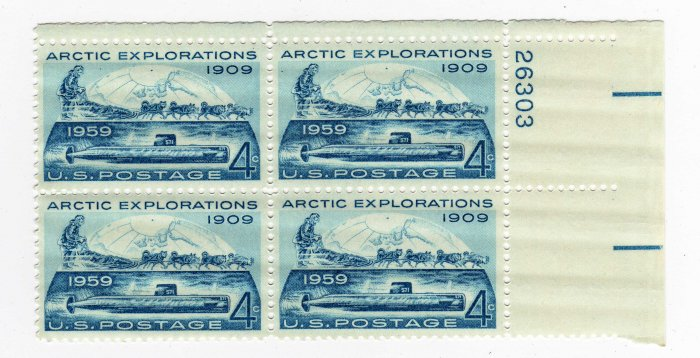 SCOTT #1128-PLATE BLOCK-ARCTIC EXPLORATION-U S STAMPS