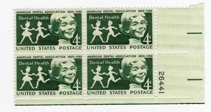 USA SCOTT# 1135-AMERICAN DENTAL ASSOCIATION-PLATE BLOCK-U S STAMPS