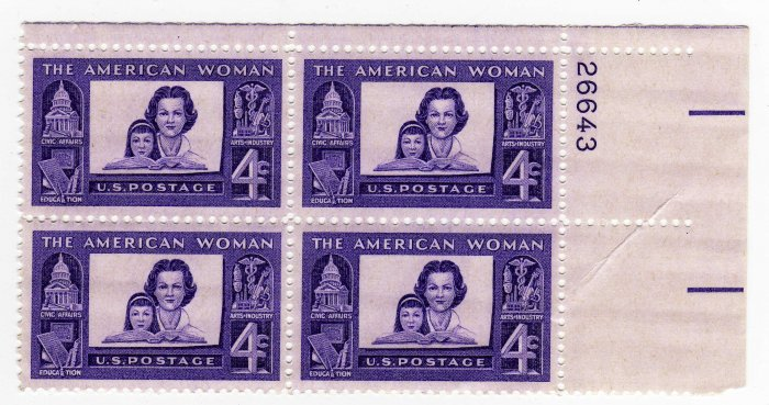 USA SCOTT# 1152-AMERICAN WOMAN-PLATE BLOCK-U S STAMP