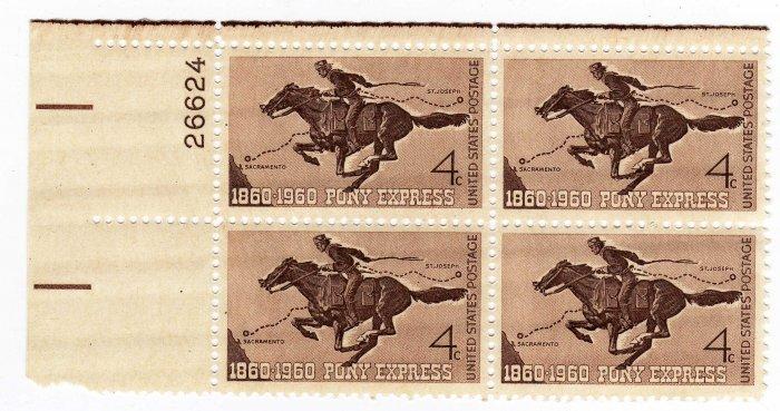 USA SCOTT# 1154-PONY EXPRESS-PLATE BLOCK-U S STAMP