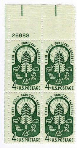 USA SCOTT# 1156-WORLD FORESTRY CONGRESS-PLATE BLOCK-U S STAMP