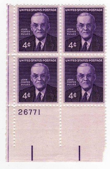 USA SCOTT# 1172 PLATE BLOCK JOHN FOSTER DULLES-U S STAMP