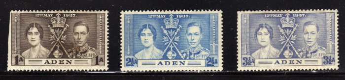 SCOTT# 13, 14, 15-ADEN-KING GEORGE Vl CORONATION SET