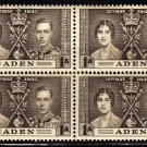 SCOTT# 13,-ADEN-BLOCK OF 4, KING GEORGE Vl CORONATION SET
