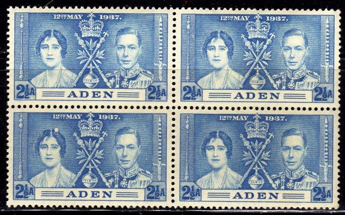 SCOTT# 14,-ADEN-BLOCK OF 4, KING GEORGE Vl CORONATION SET