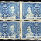 SCOTT# 14,-ADEN-BLOCK OF 4, KING GEORGE Vl CORONATION SET