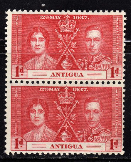 SCOTT# 81 ANTIGUA-VERTICAL PAIR-1937 CORONATION ISSUE