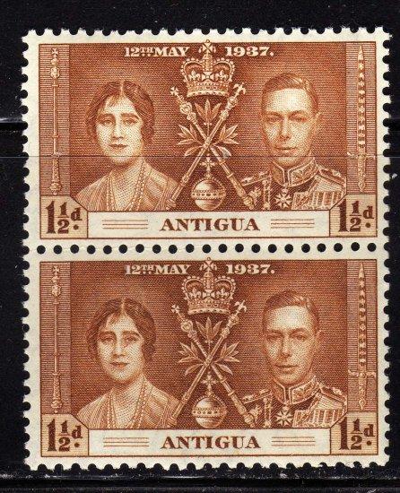 SCOTT# 82 ANTIGUA-VERTICAL PAIR-1937 CORONATION ISSUE