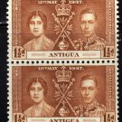 SCOTT# 82 ANTIGUA-VERTICAL PAIR-1937 CORONATION ISSUE