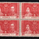 SCOTT# 81 ANTIGUA-BLOCK OF FOUR-1937 CORONATION ISSUE