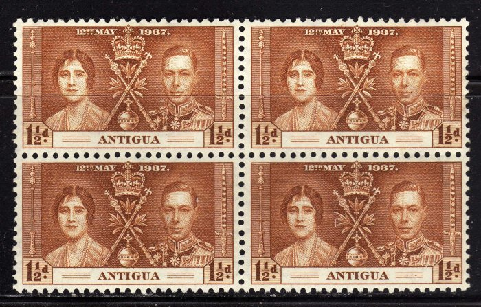 SCOTT# 82 ANTIGUA-BLOCK OF FOUR-1937 CORONATION ISSUE