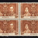 SCOTT# 82 ANTIGUA-BLOCK OF FOUR-1937 CORONATION ISSUE