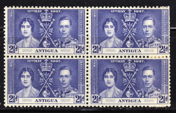 SCOTT# 83 ANTIGUA-BLOCK OF FOUR-1937 CORONATION ISSUE