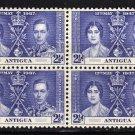 SCOTT# 83 ANTIGUA-BLOCK OF FOUR-1937 CORONATION ISSUE
