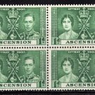 SCOTT# 37, ASCENSION BLOCK OF FOUR-KING GEORGE Vl CORONATION ISSUE