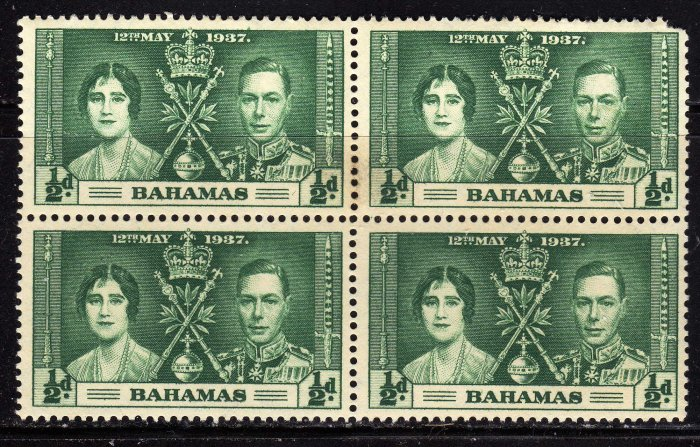 SCOTT# 97, BAHAMA BLOCK OF FOUR-KING GEORGE Vl CORONATION ISSUE