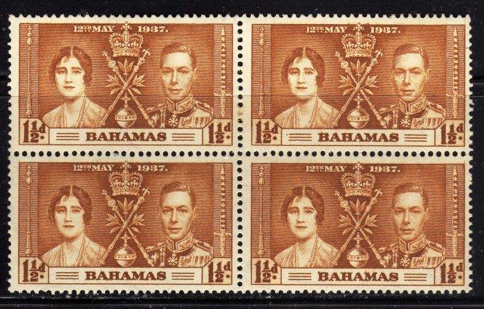 SCOTT# 98, BAHAMA BLOCK OF FOUR-KING GEORGE Vl CORONATION ISSUE