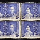 SCOTT 99, BAHAMA BLOCK OF FOUR-KING GEORGE Vl CORONATION ISSUE
