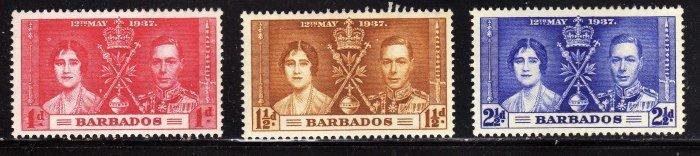 SCOTT# 190, 191, 192, BARBADOS KING GEORGE CORONATION STAMPS