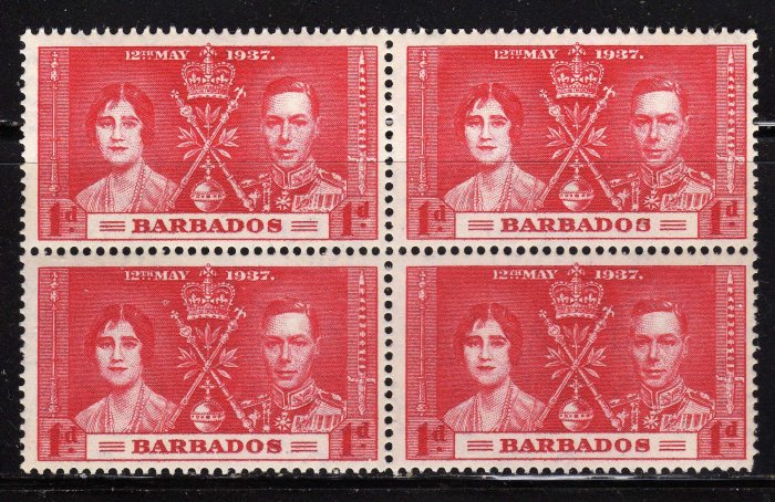SCOTT# 190,BLOCK OF FOUR, BARBADOS KING GEORGE CORONATION STAMPS