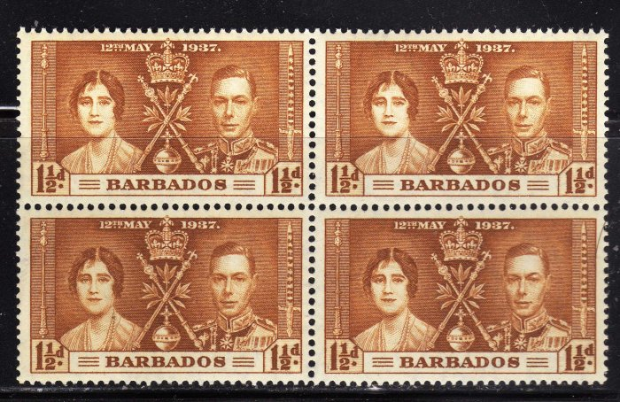 SCOTT# 191, BLOCK OF FOUR, BARBADOS KING GEORGE CORONATION STAMPS