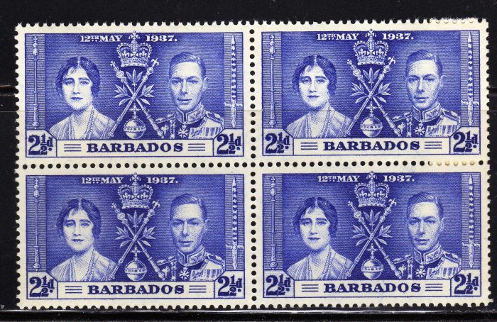 SCOTT# 192, BLOCK OF FOUR, BARBADOS KING GEORGE CORONATION STAMPS
